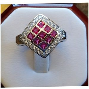 Jewelry - Ruby and White Sapphire Checkerboard Ring Size 8